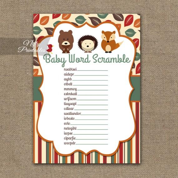 Baby Shower Word Scramble Game - Woodland Baby