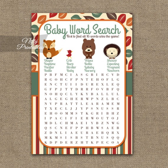 Baby Shower Word Search Game - Woodland Baby