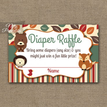 Diaper Raffle Baby Shower - Woodland Baby