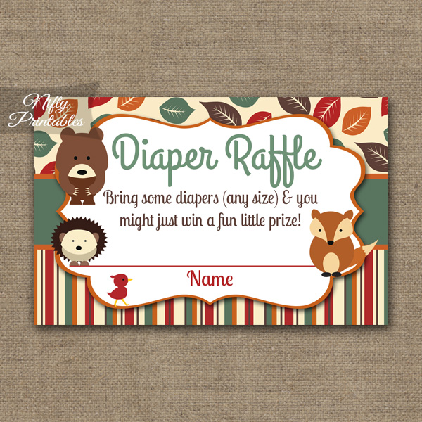 Diaper Raffle Baby Shower - Woodland Baby