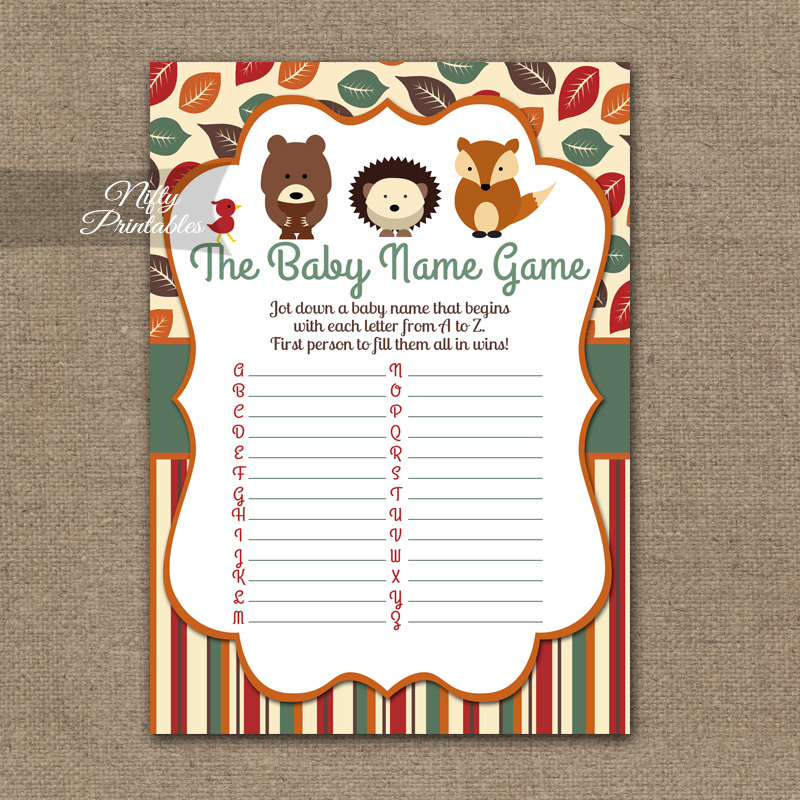 Name Game Baby Shower - Woodland Baby