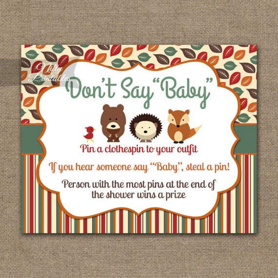 Don't Say Baby Shower Game - Woodland Baby