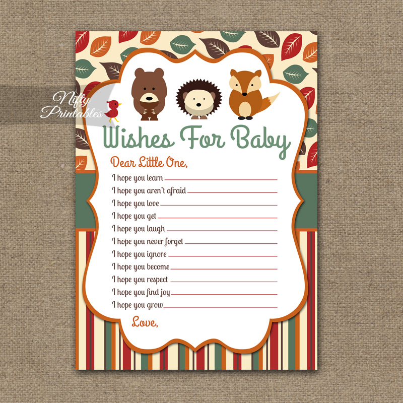 Wishes For Baby Shower Game - Woodland Baby