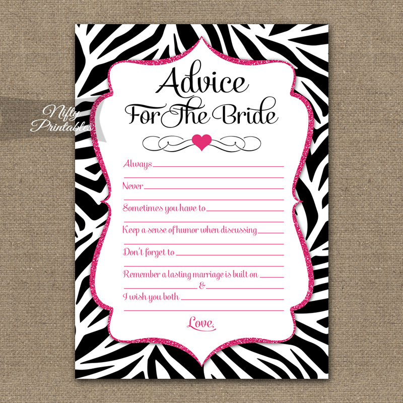 Bridal Shower Advice Cards - Zebra Pink