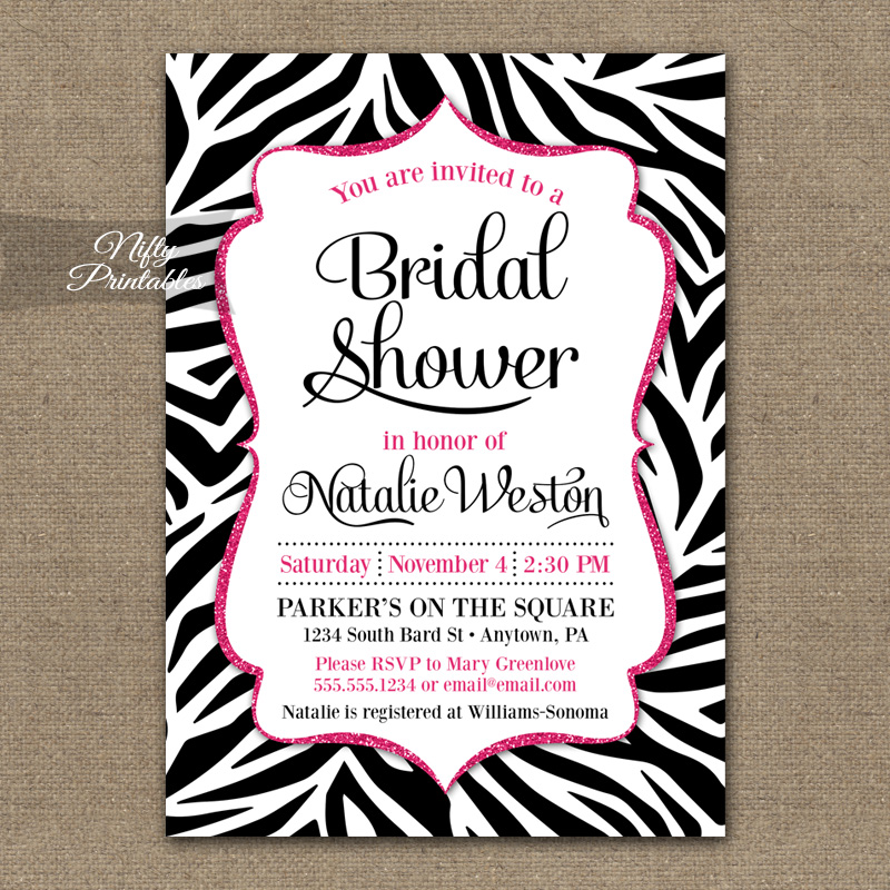 Zebra Pink Bridal Shower Invitation