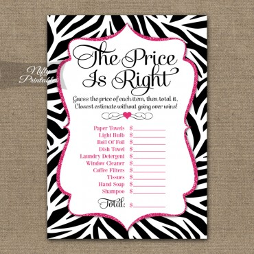 Price Is Right Bridal Shower - Zebra Pink