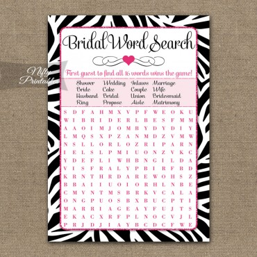 Bridal Shower Word Search Game - Zebra Pink