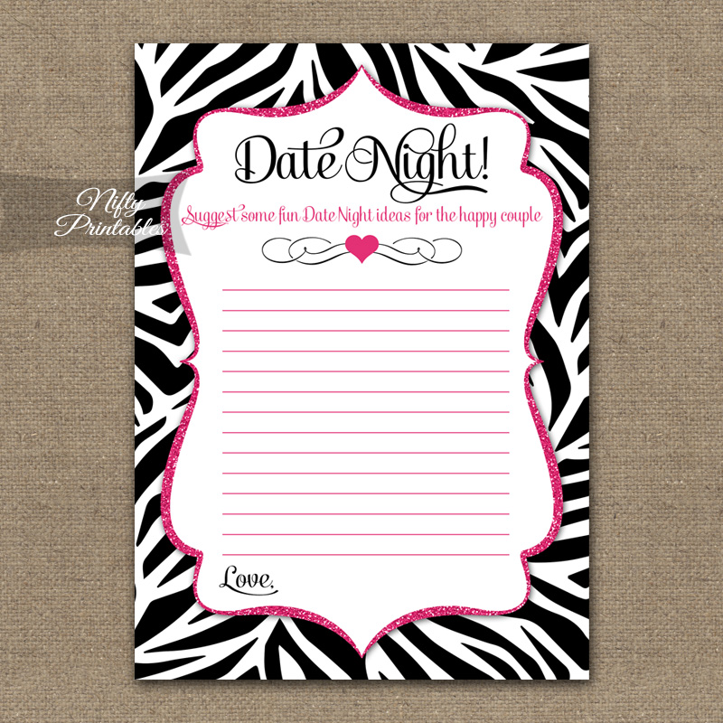 Bridal Shower Date Night Ideas - Zebra Pink