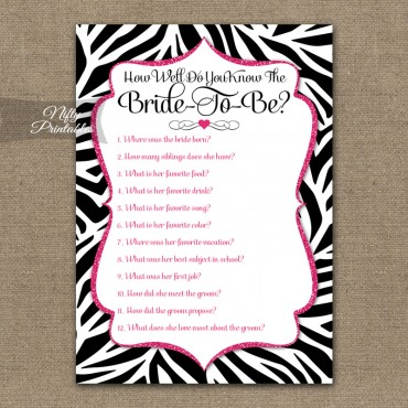 How Well Do You Know The Bride - Zebra Pink