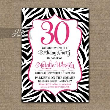 Zebra Birthday Invitation - Hot Pink Black