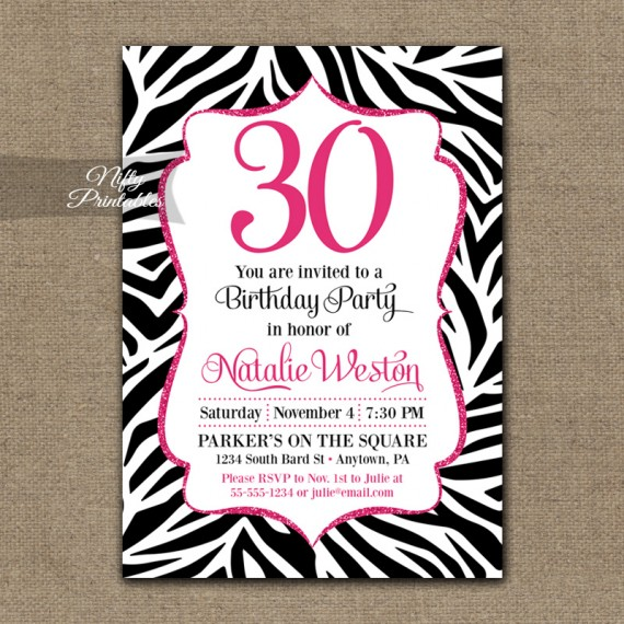 Zebra Birthday Invitation - Hot Pink Black