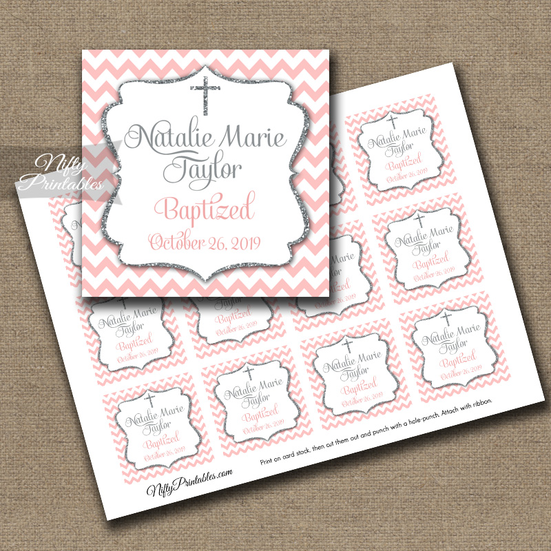 Pink Gray Baptism Favor Tags