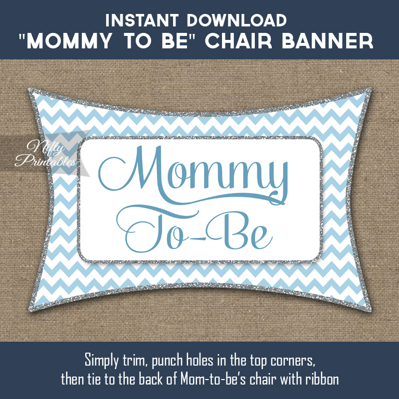 Baby Shower Chair Banner - Blue Chevron