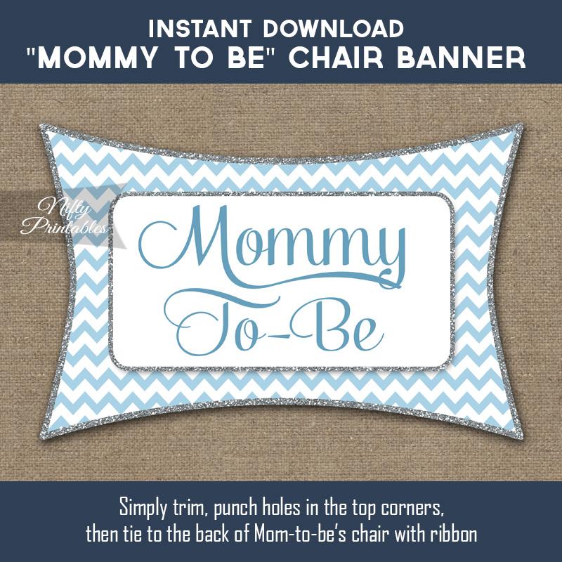 Baby Shower Chair Banner - Blue Chevron
