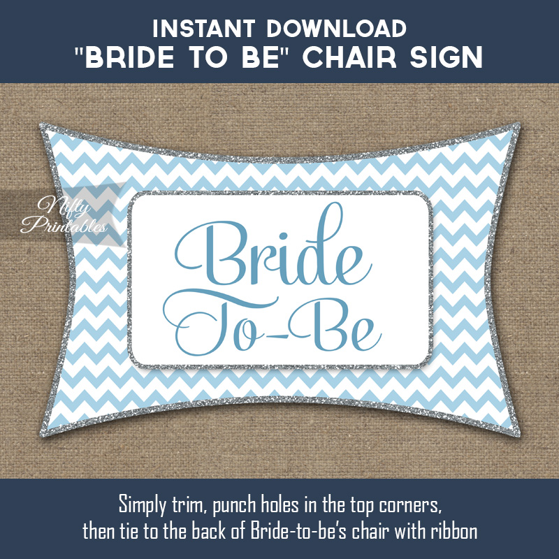 Bridal Shower Chair Banner - Blue Chevron