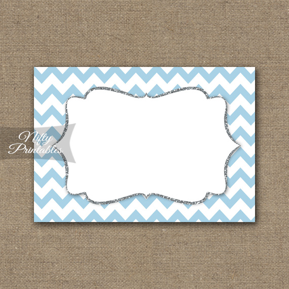 Food Labels - Nametags - Blue Chevron