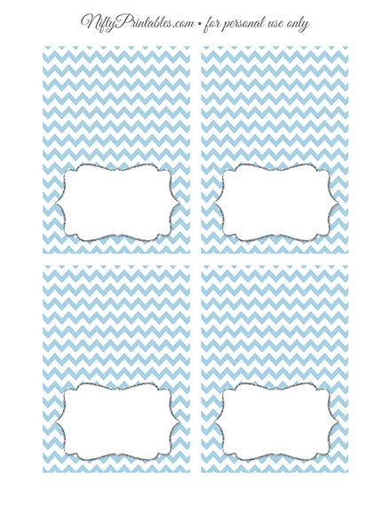 Tent Cards - Place Cards - Buffet Cards - Blue Chevron