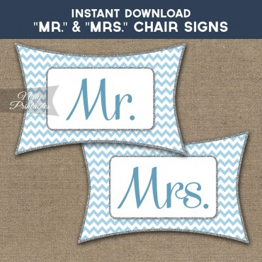 Mrs & Mrs Chair Signs - Blue Chevron