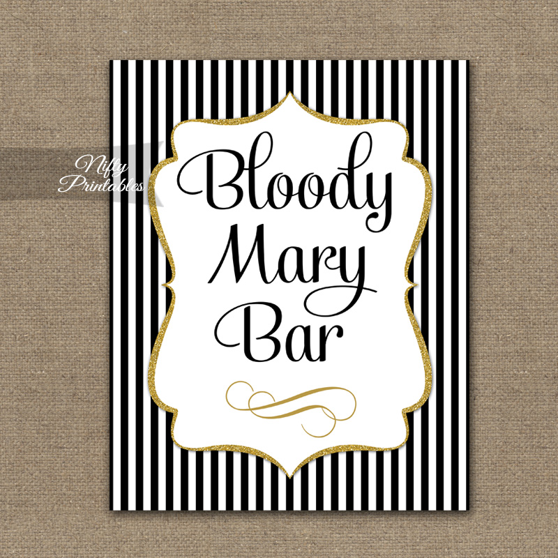 Bloody Mary Bar Sign - Black Gold Stripe