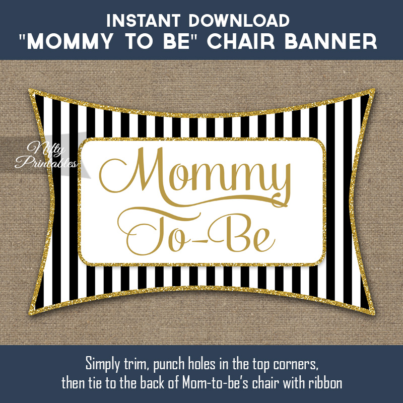 Baby Shower Chair Sign - Black Gold