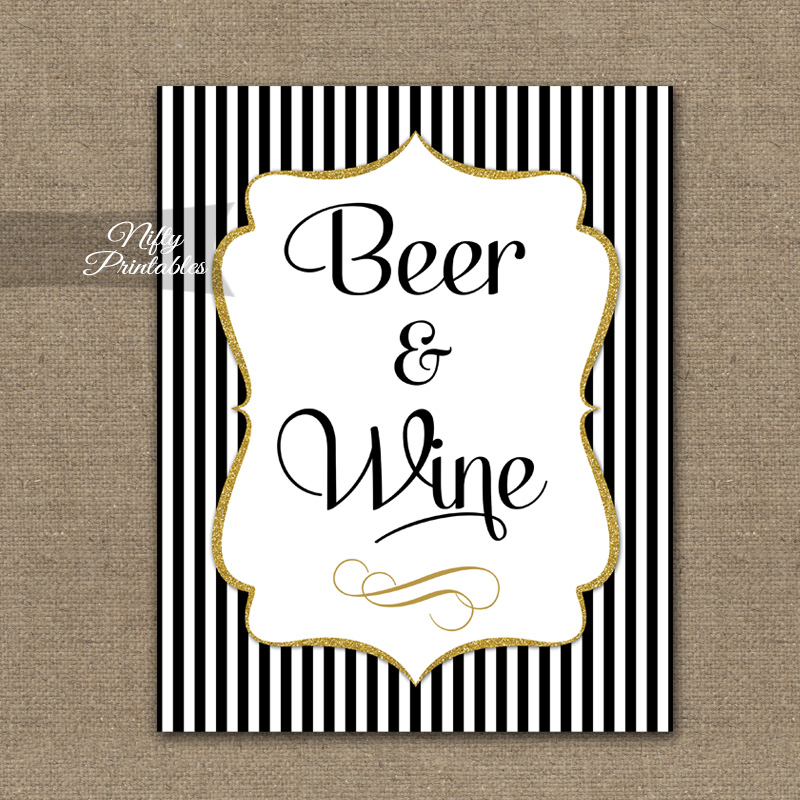Beer And Wine Sign - Black Gold Stripe