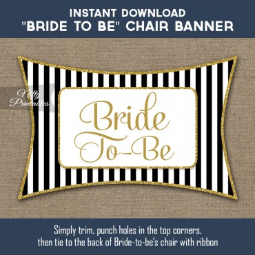 Bridal Shower Chair Sign - Black Gold