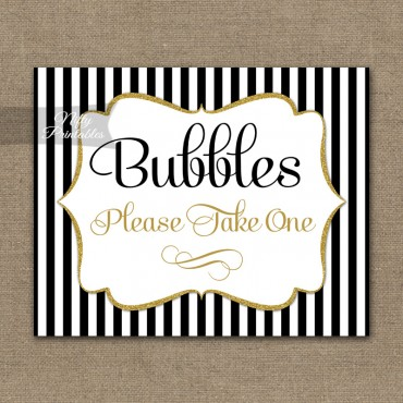 Bubbles Wedding Sign - Black Gold Stripe