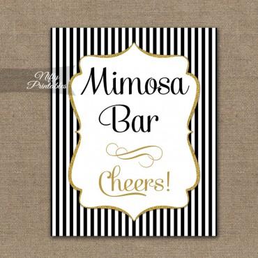 Mimosa Bar Sign - Black Gold Stripe