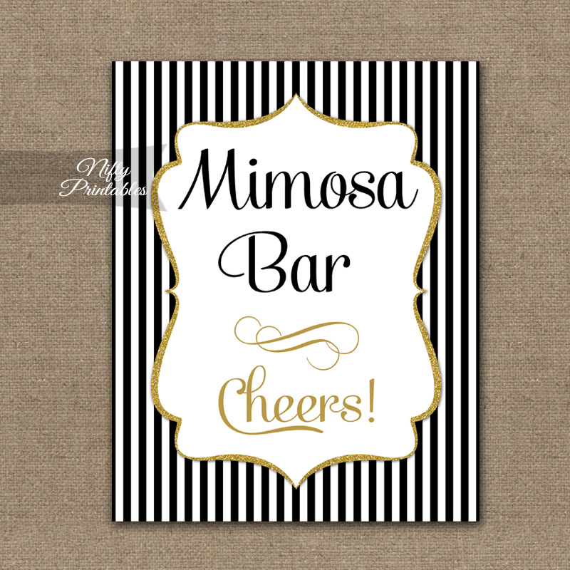 Mimosa Bar Sign - Black Gold Stripe