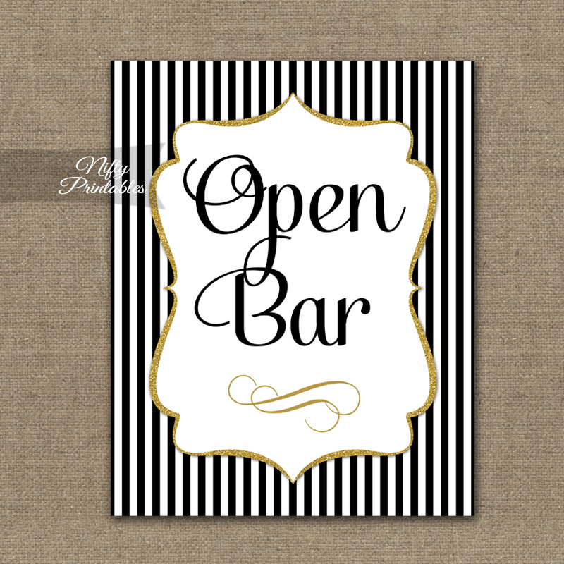 Open Bar Sign - Black Gold Stripe