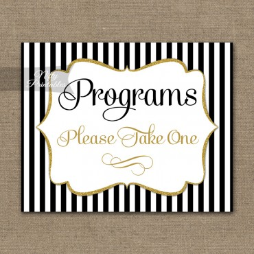 Programs Please Take Sign - Black Gold Stripe