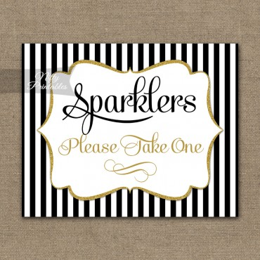 Sparklers Sign - Black Gold Stripe