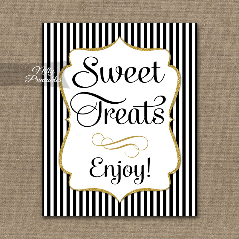 Sweet Treats Dessert Sign - Black Gold Stripe