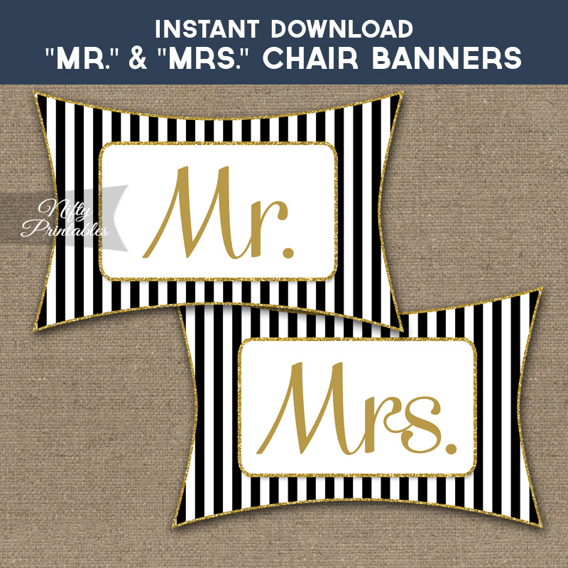 Mr & Mrs Chair Signs - Black Gold