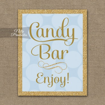 Candy Buffet Sign - Blue Gold Dots