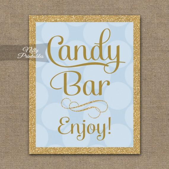 Candy Buffet Sign - Blue Gold Dots