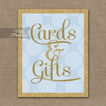 Cards & Gifts Sign - Blue Gold Dots