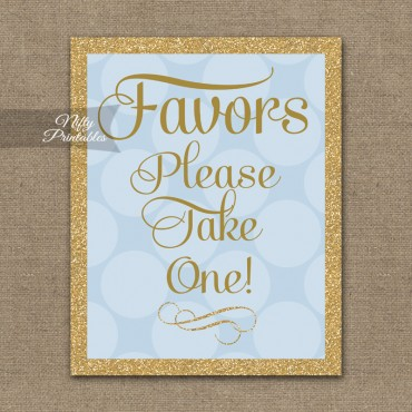 Favors Sign - Blue Gold Dots