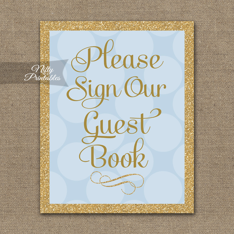 Guest Book Sign - Blue Gold Dots