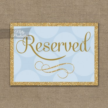 Reserved Sign - Blue Gold Dots