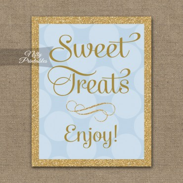 Sweet Treats Dessert Sign - Blue Gold Dots