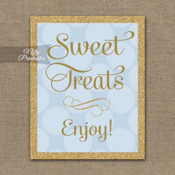 Sweet Treats Dessert Sign - Blue Gold Dots