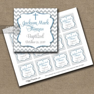 Gray Blue Baptism Favor Tags - Chevron