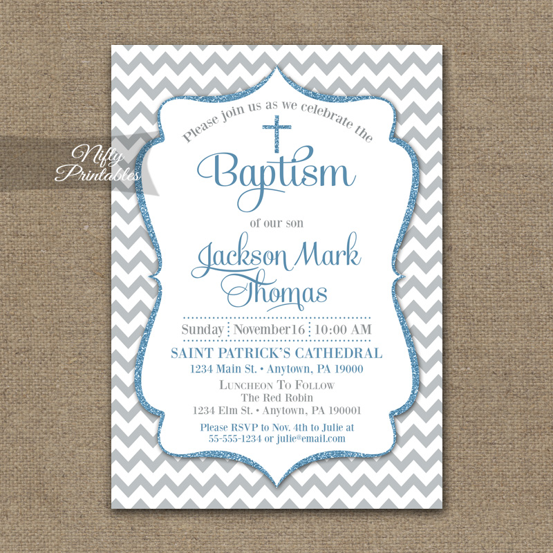Gray Blue Baptism Invitations - Chevron