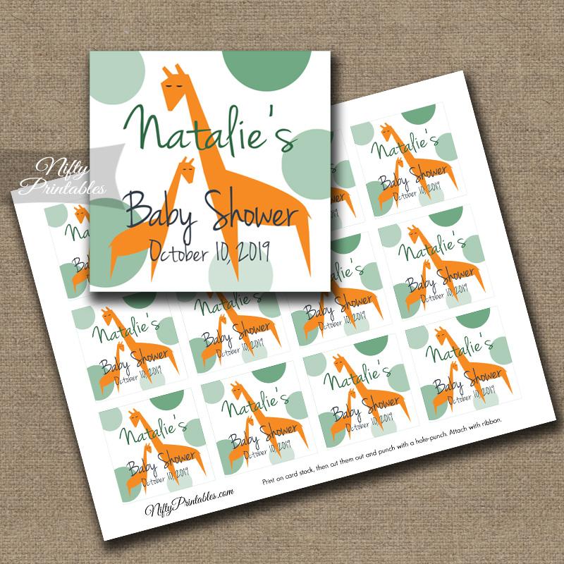 Printable Favor Tags - Orange Giraffes