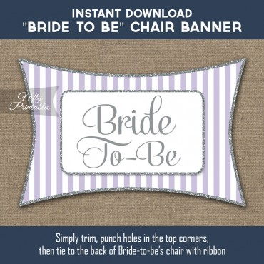 Bridal Shower Chair Sign - Lilac Silver