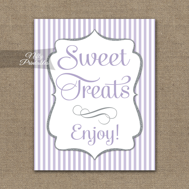Sweet Treats Dessert Sign - Lilac Silver