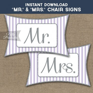 Mrs & Mrs Chair Signs - Lilac Silver