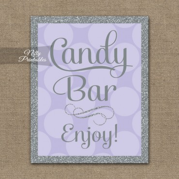 Candy Buffet Sign - Lilac Silver Dots
