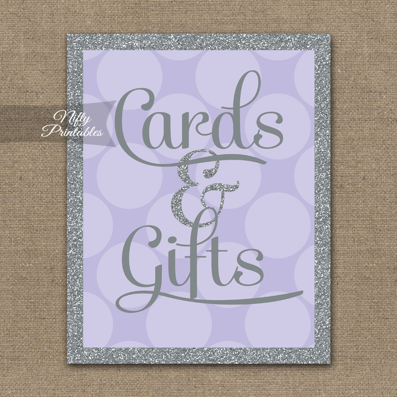 Cards & Gifts Sign - Lilac Silver Dots
